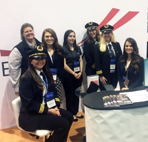 Representatives from HR, Flight Ops, and Tech Ops talked to WAI18 attendees, answered questions, and shared the Endeavor brand.